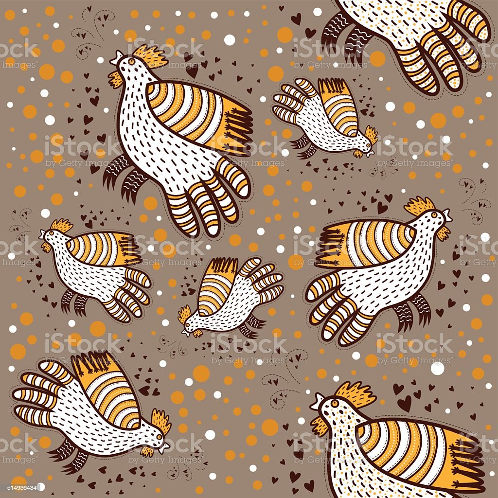 Pattern With Decorative Roosters Stock Illustration
