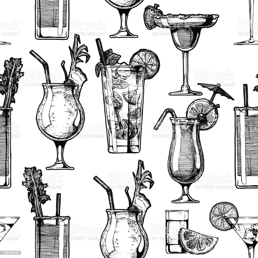 padrão com cocktails diferentes - ilustração de arte em vetor