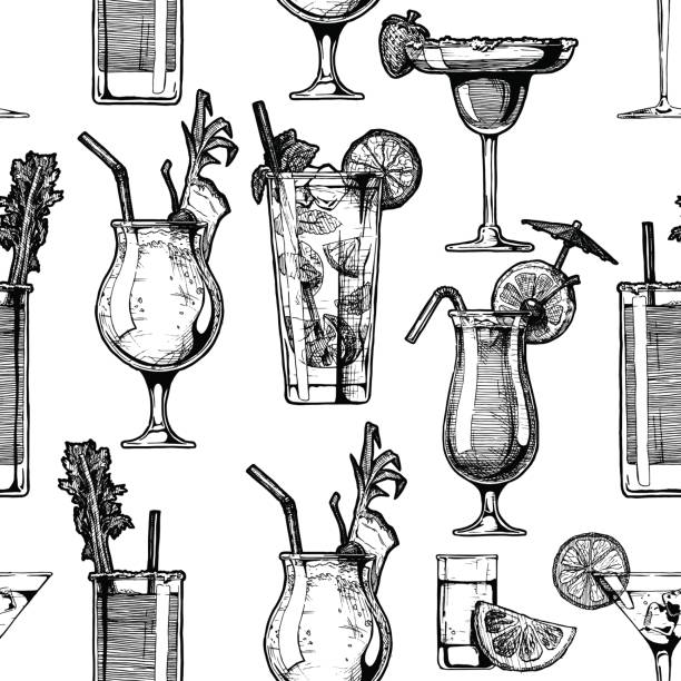 pattern with different cocktails - cocktails stock illustrations, clip art, cartoons, & icons