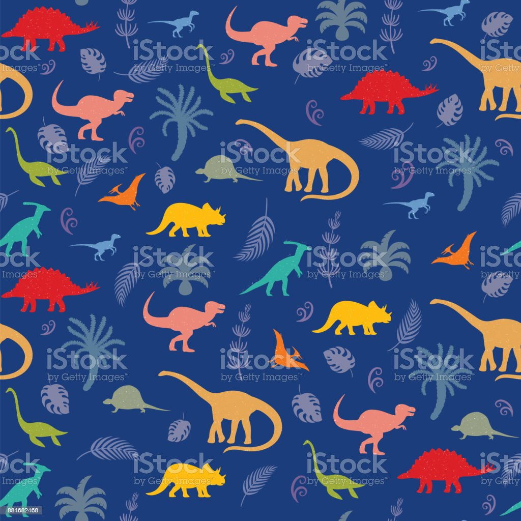 Pattern with different kinds of dinosaurs, plants and leaves vector art illustration