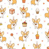 Seamless pattern with cute cartoon dogs breed Welsh Corgi Pembroke on  white  background. Funny baby animals. Birthday gifts, balloons, sweets and party hats. Children's illustration. Vector image. Little puppies.