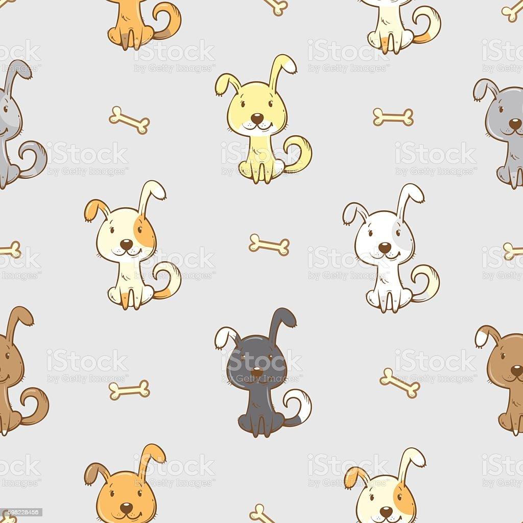 Padrão com cachorros. ilustração de padrão com cachorros e mais banco de imagens de amizade royalty-free
