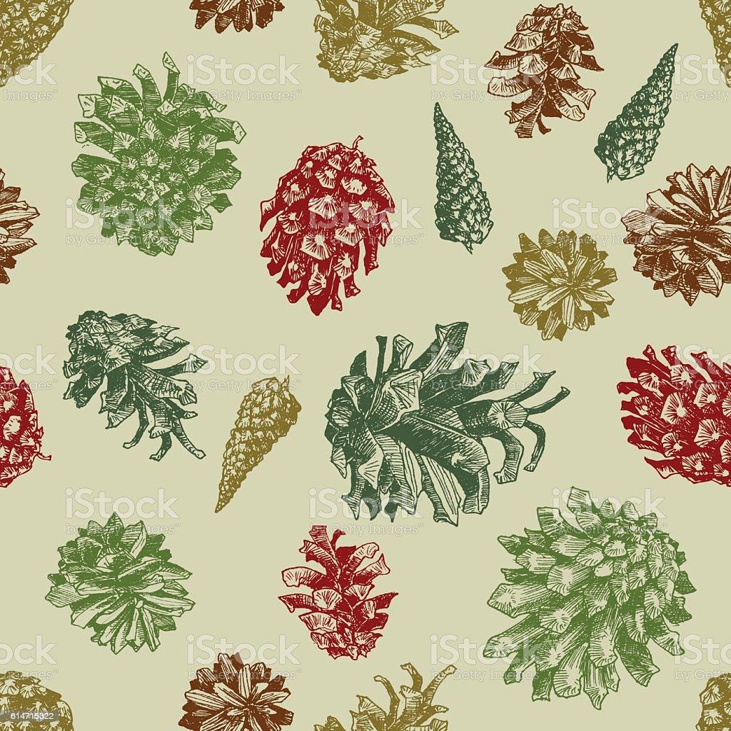Pattern with drawn pine cones – Vektorgrafik