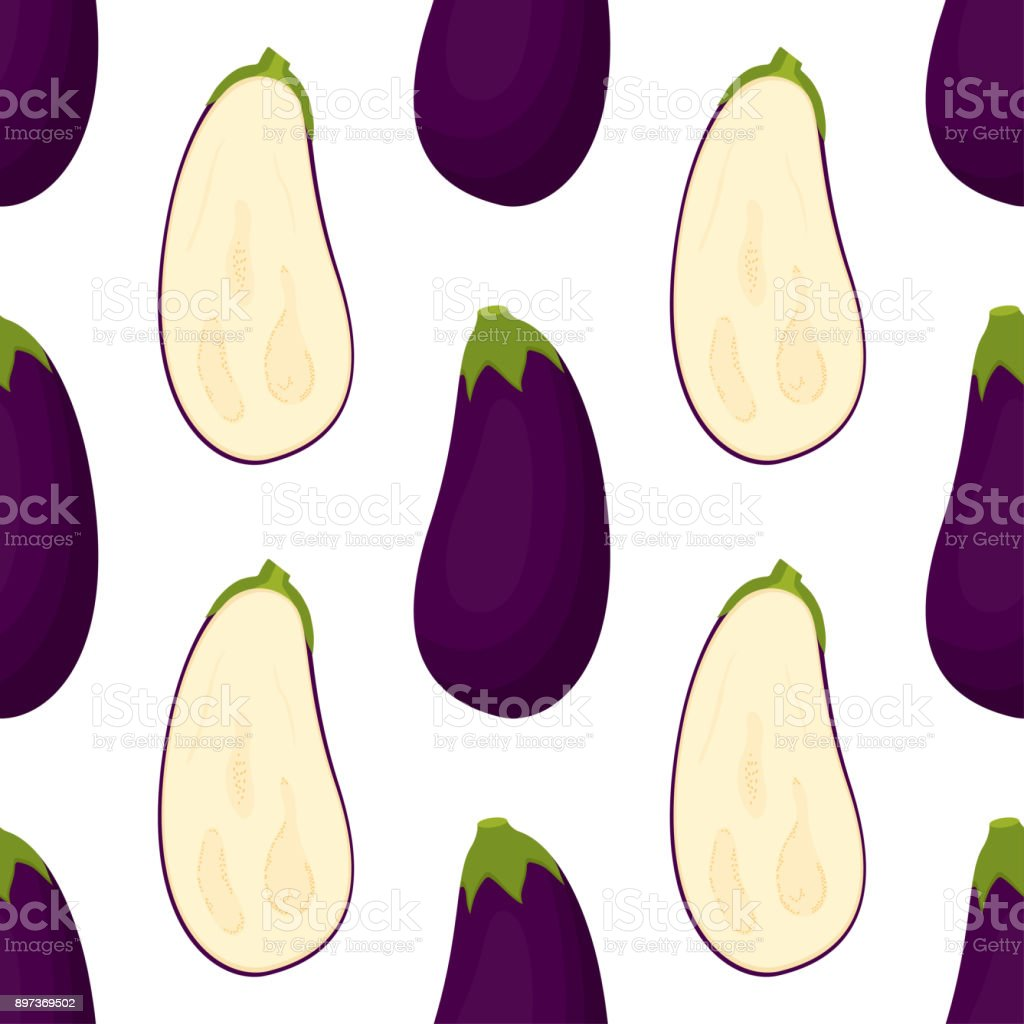 pattern with eggplant vector art illustration