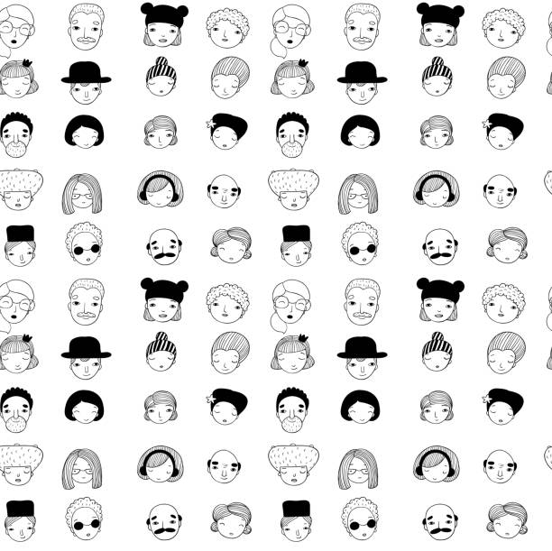 pattern with faces - old man glasses stock illustrations, clip art, cartoons, & icons