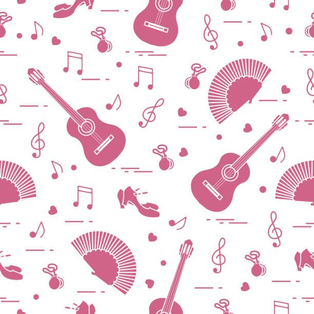 stockillustraties, clipart, cartoons en iconen met patroon met ventilator, schoenen, castagnetten, noten, gitaren - castagnetten