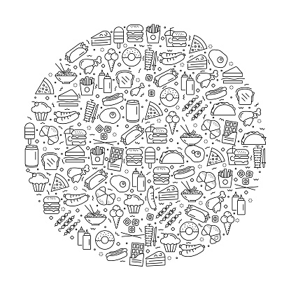Pattern with Fast Food and Street Food Icons. Black and white Thin Line Icons