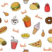 Pattern with fast food hand drawn colored icons. Doodle illustrations of burger, pizza slice, ice cream. Vector background with food illustrations for bistro, fast food chains, restaurants, snack-bar