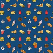 Pattern with fast food hand drawn colored icons on blue background. Doodle illustrations of burger, pizza slice, ice cream. Vector background for bistro, fast food chains, restaurants, snack-bar