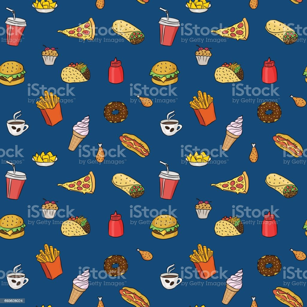 Pattern with fast food hand drawn colored icons on blue background. Doodle illustrations of burger, pizza slice, ice cream. Vector background for bistro, fast food chains, restaurants, snack-bar vector art illustration