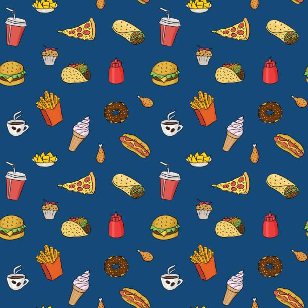 pattern with fast food hand drawn colored icons on blue background. doodle illustrations of burger, pizza slice, ice cream. vector background for bistro, fast food chains, restaurants, snack-bar - junk food stock illustrations, clip art, cartoons, & icons