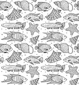 pattern with fishes and shells.