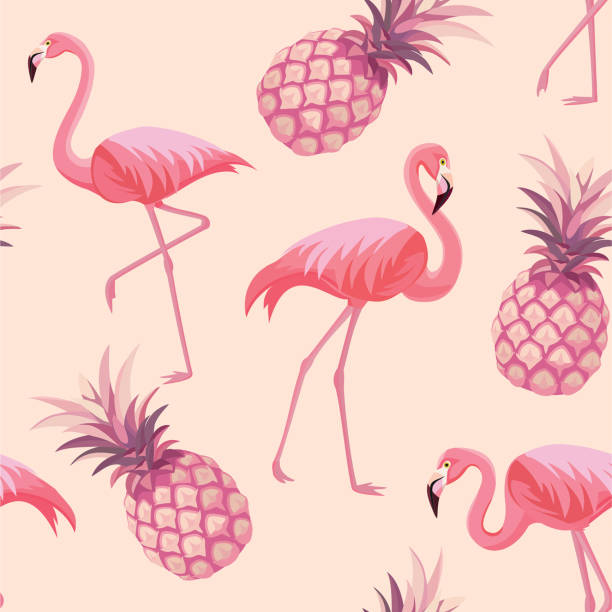 pattern with flamingos and pineapples. vector seamless texture. - flamingo stock illustrations