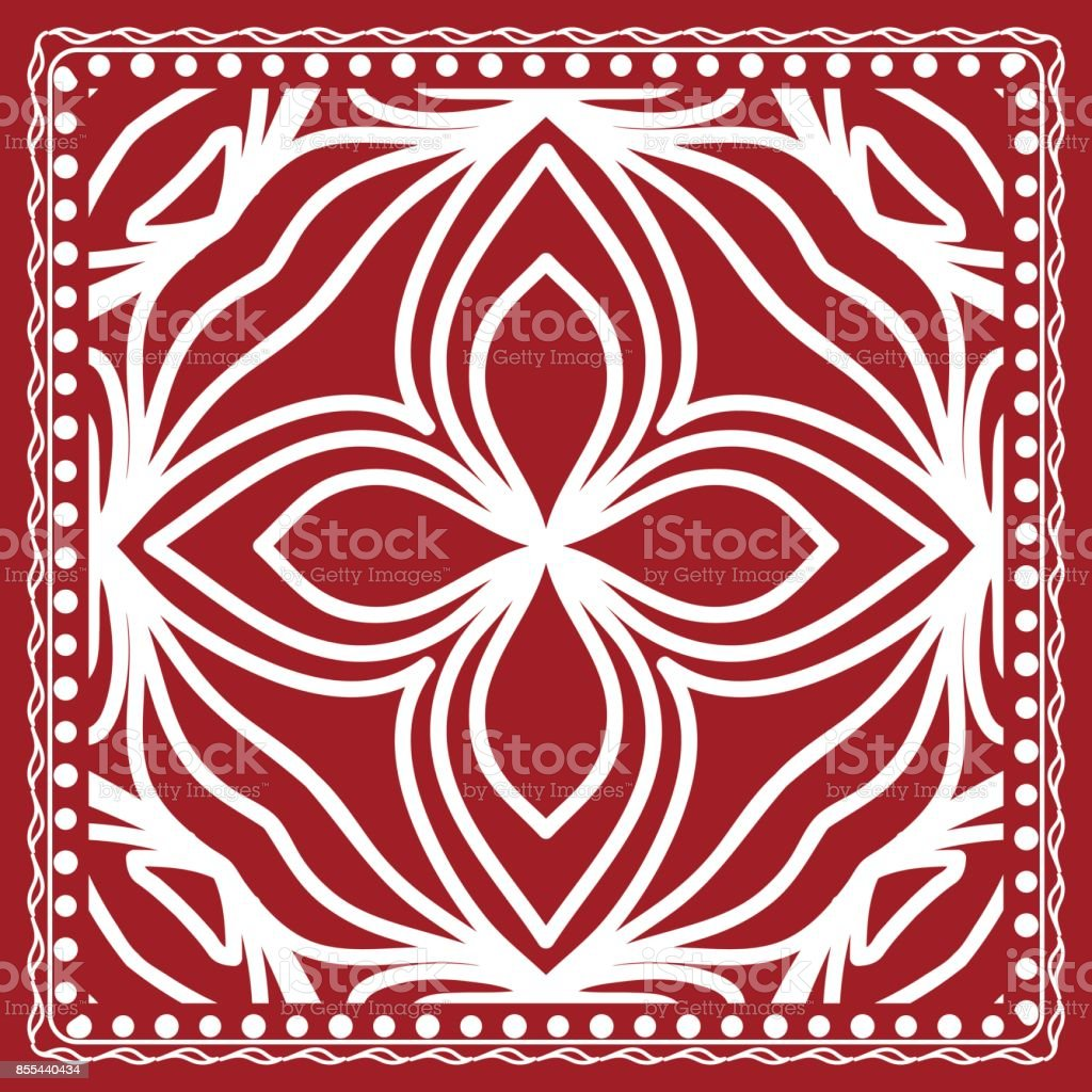 pattern with floral mandala, decorative border. design for print fabric, bandana. Ornamental Vector Background. red color vector art illustration
