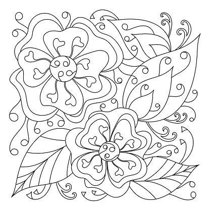 Pattern with flowers for coloring book, curved Doodle of leaves. The Mehndi Design. Monochrome texture, black and white . Vector