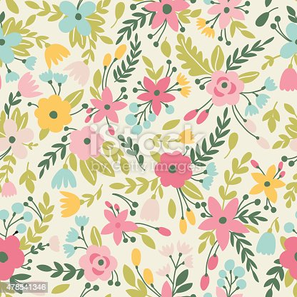 Cute seamless pattern with flowers. Can be used for summer backgrounds