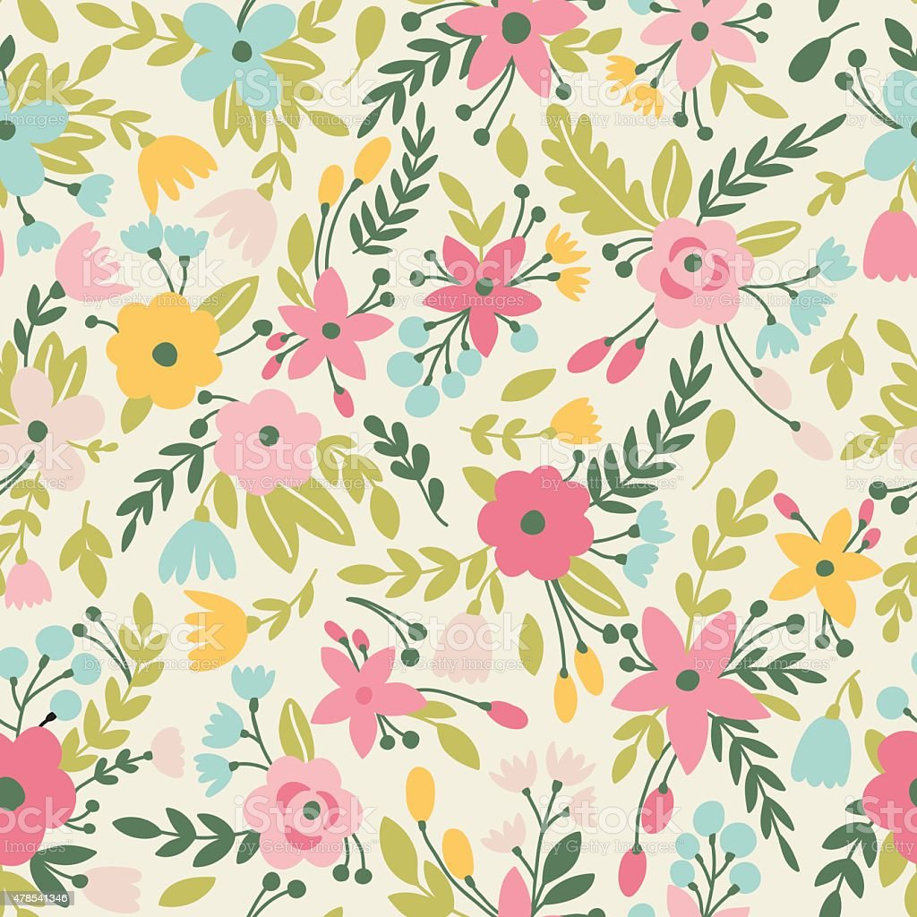 Pattern with flowers vector art illustration