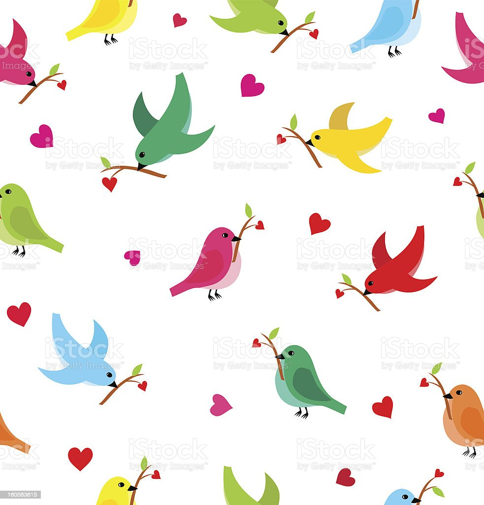 Pattern with flying birds royalty-free stock vector art