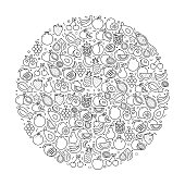 Pattern with Fruits Icons. Black and white Thin Line Icons