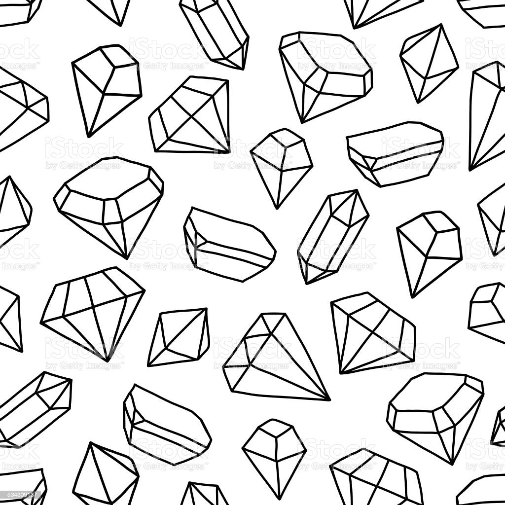 Pattern with gems vector art illustration