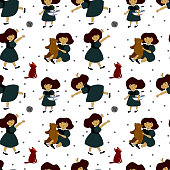 seamless pattern with girls and different toys, children's games and entertainment