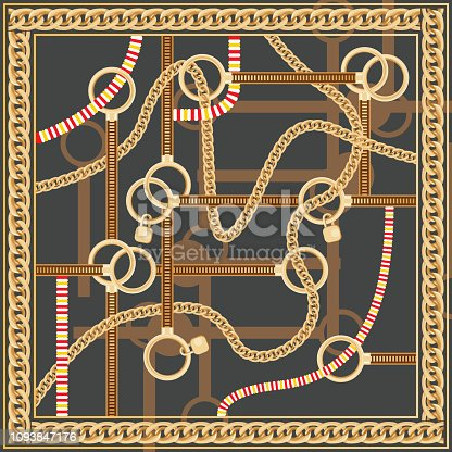 Pattern with Golden Chain and Belts for Fabric Design. Vector Illustration. Silk Scarf Design.