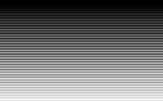 Pattern with gradient horizontal halftone line. Abstract background with parallel lines from thick to thin. Black texture of straight stripes. Digital velocity lines on screen. Vector