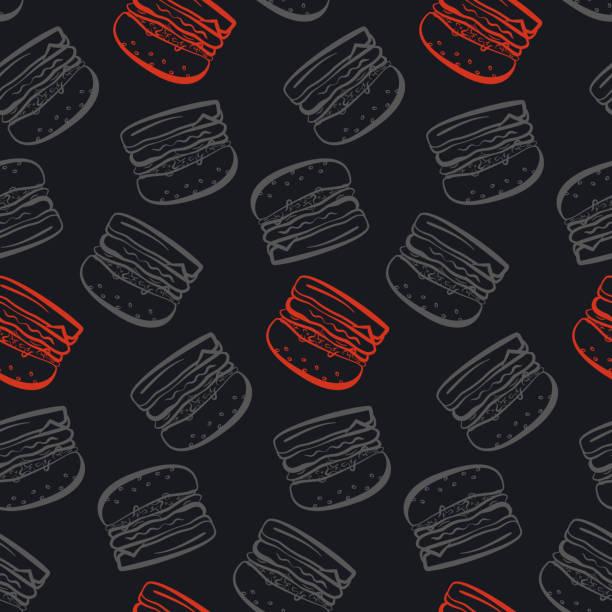 muster mit grauen und roten burger auf schwarzem hintergrund - hamburger schnellgericht stock-grafiken, -clipart, -cartoons und -symbole