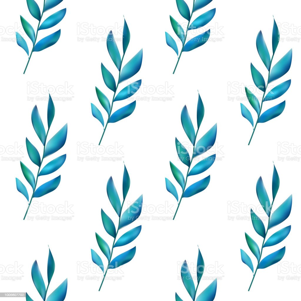 Pattern with green leaves in gradient color style. Foliage...