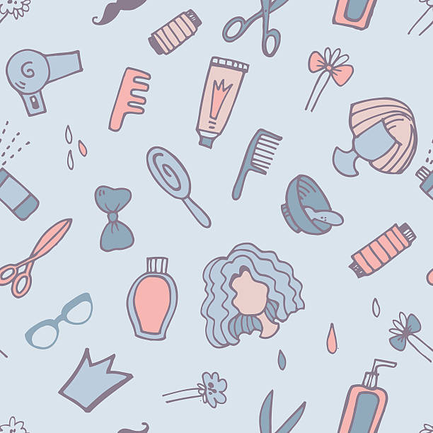Pattern with hairdresser elements vector art illustration