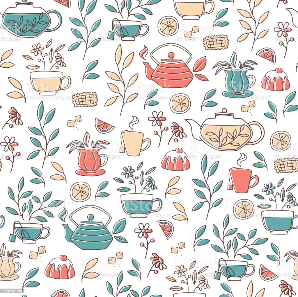 Pattern with Hand Drawn Tea Accessories. vector art illustration