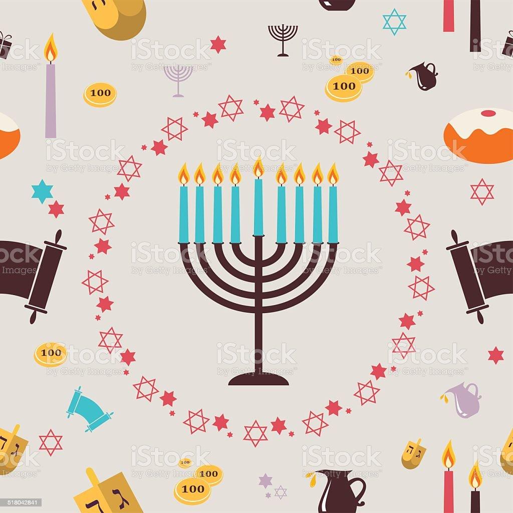 pattern with Hanukkah symbols. Greeting card vector art illustration