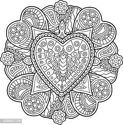 istock Patrón con corazones para colorear libro 1035527120 istock ...