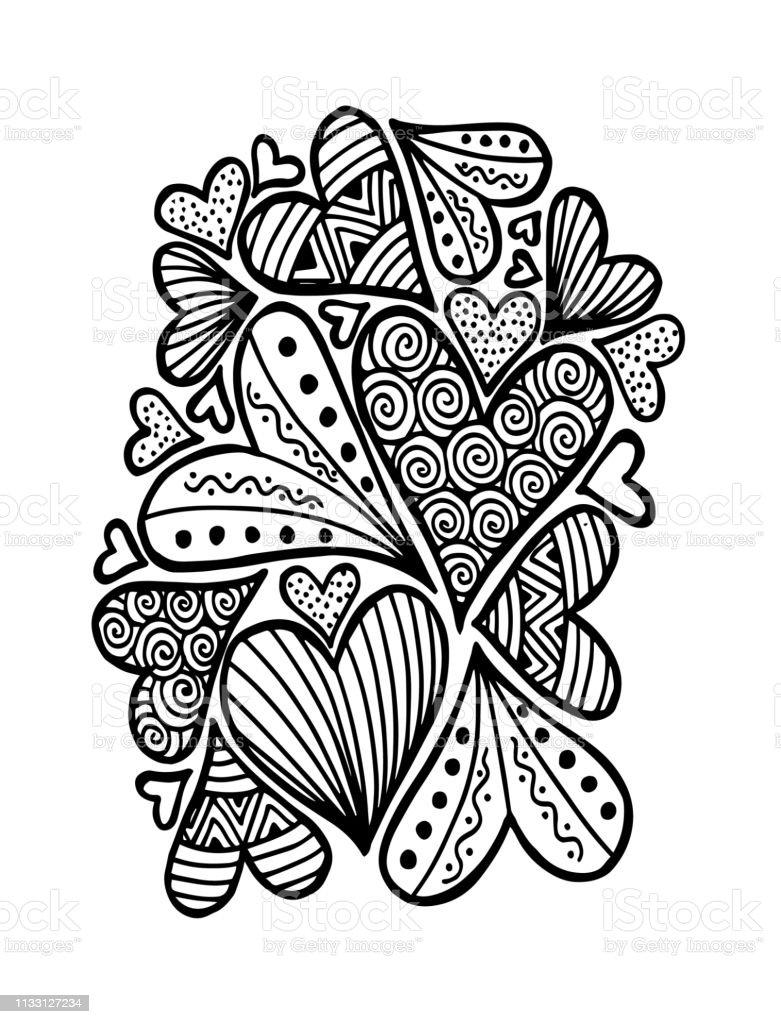 Ilustración De Patrón Con Corazones Para Colorear Página Del Libro Y