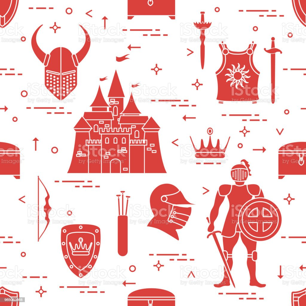 Pattern with knight, shields, swords and other. royalty-free pattern with knight shields swords and other stock vector art & more images of adult