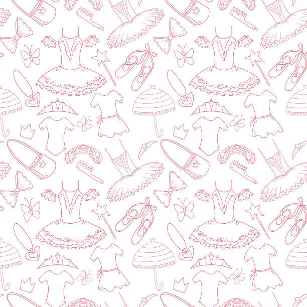 Pattern with little cute ballerinas vector art illustration