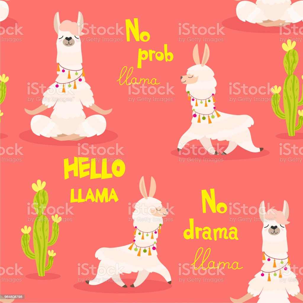 Pattern with llama and cactus. Vector seamless texture. royalty-free pattern with llama and cactus vector seamless texture stock vector art & more images of alpaca