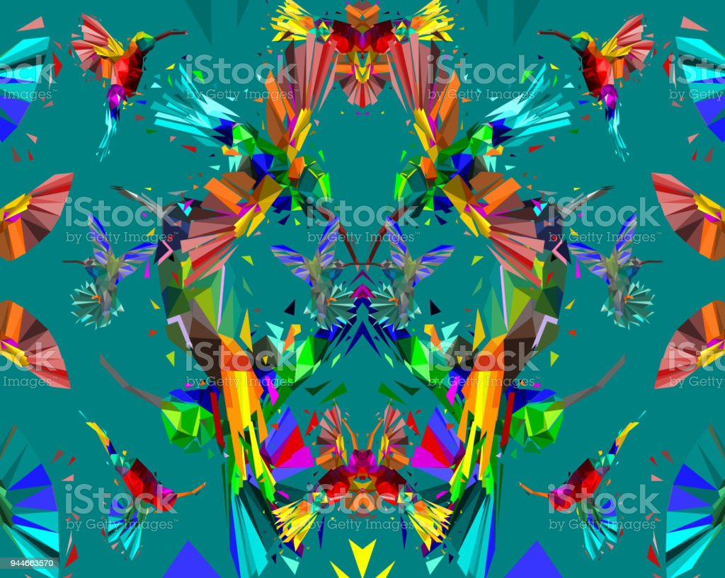 Pattern With Low Poly Colorful Hummingbird With Abstract