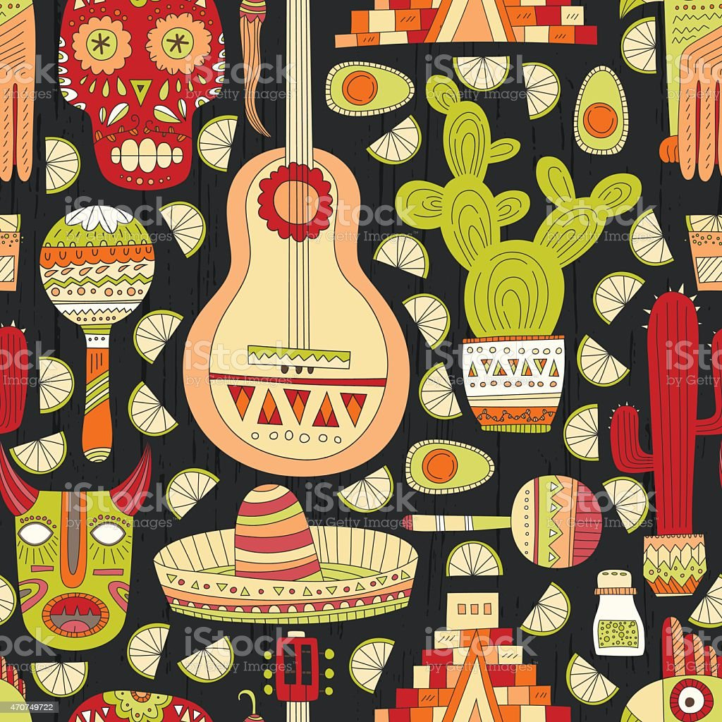 Pattern with Mexican symbols on a black background vector art illustration