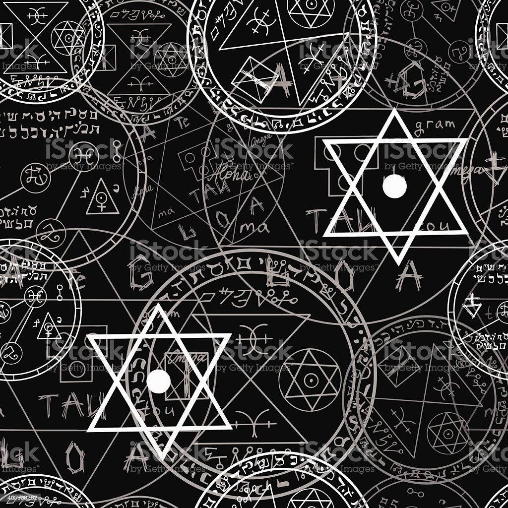 Pattern with mystic symbols and pentacle on black vector art illustration