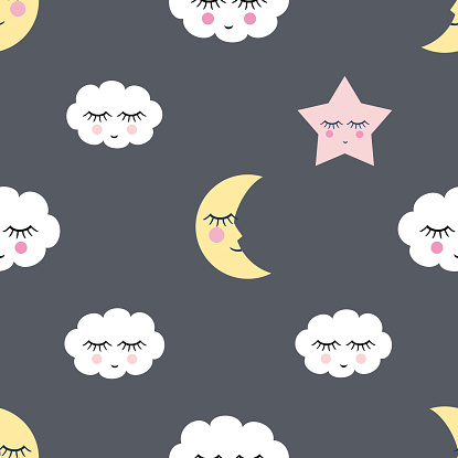 pattern with night star, clouds and moon