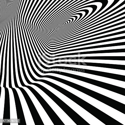 istock Pattern with optical illusion. Black and white background. 472678722