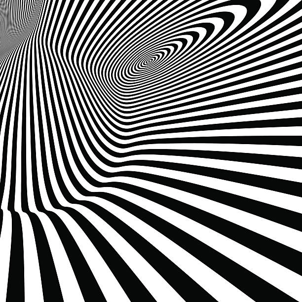 pattern with optical illusion. black and white background. - 時代 幅插畫檔、美工圖案、卡通及圖標