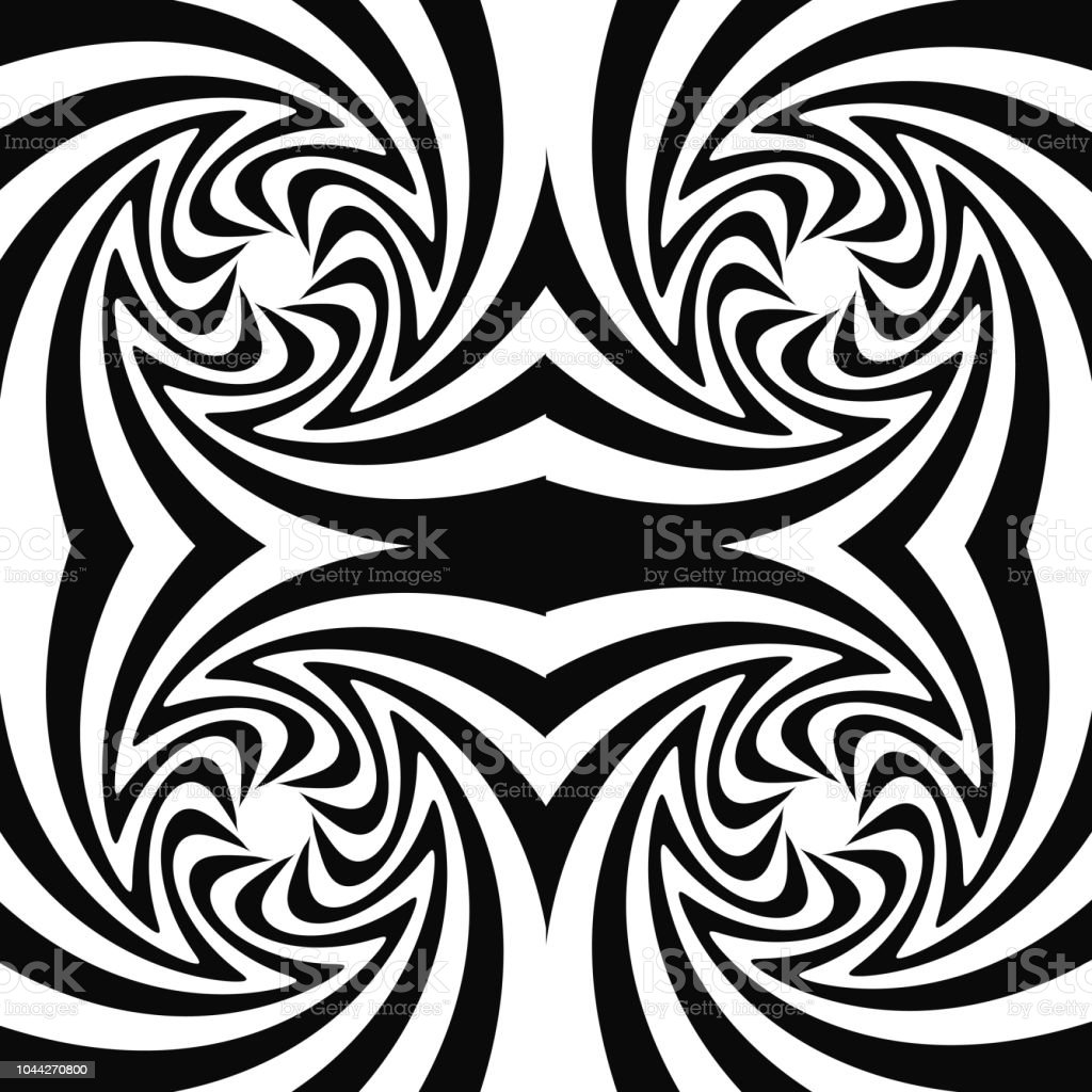 Pattern with optical illusion black and white design abstract striped background vector illustration