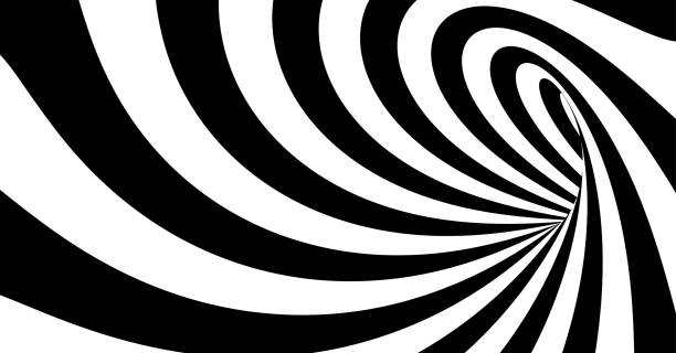 Pattern with optical illusion. Black and white design. Abstract striped background. Vector illustration. vector art illustration