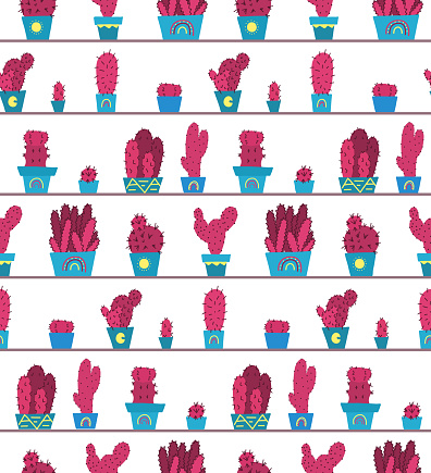 Pattern with original cartoon pink cactuses in pots on the shelves. Hand drawn flat texture of home plants on racks.