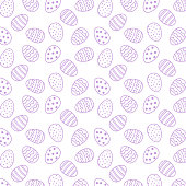 Pattern with ornamental eggs. Easter holiday white background for printing on fabric, paper for scrapbooking, gift wrap and wallpapers.