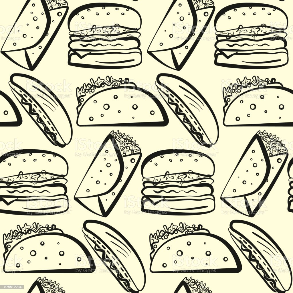 Pattern With Outline Rows Of Fast Food Symbols Stock Vector Art