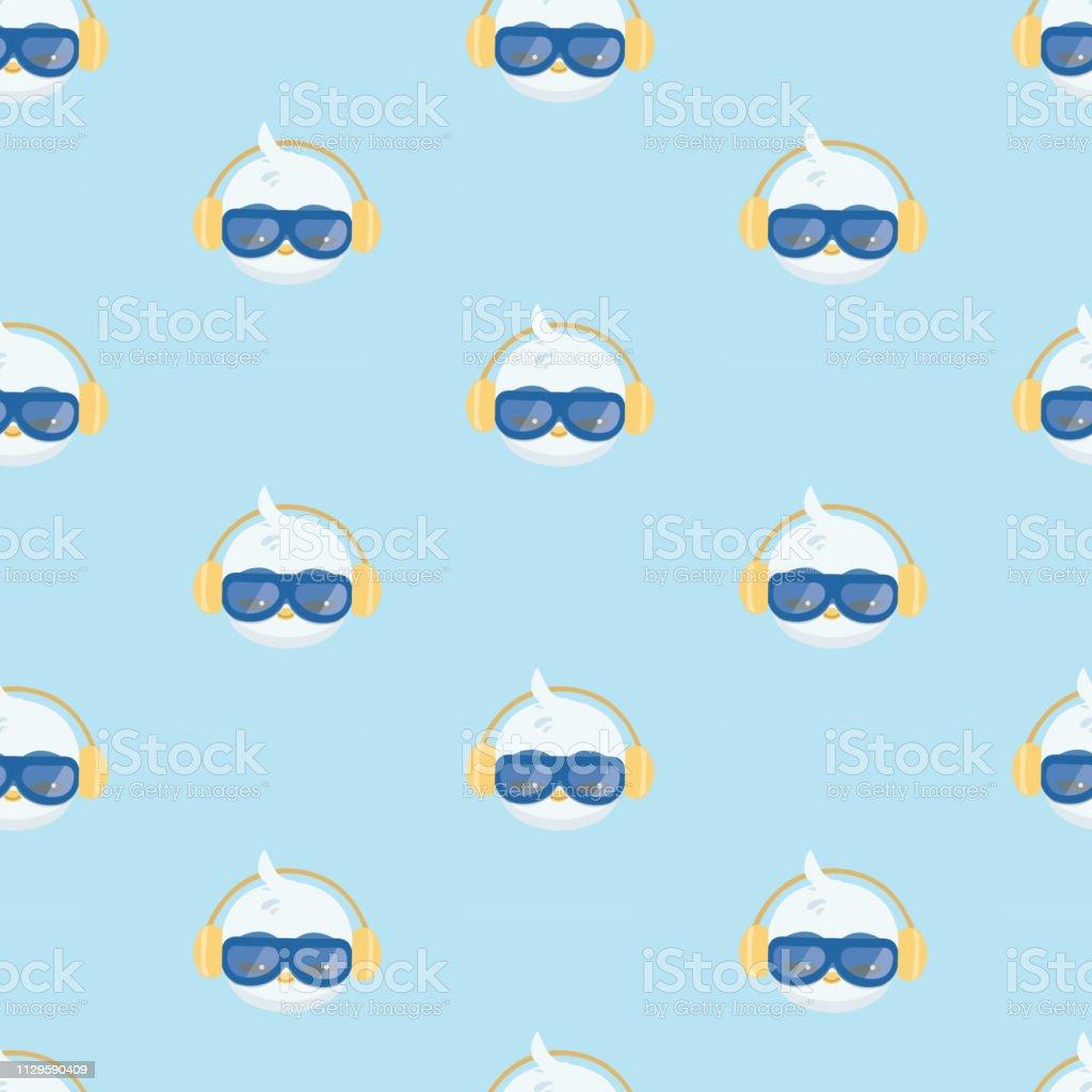 Padrão com ícone plana de cor de pinguins. - ilustração de arte em vetor