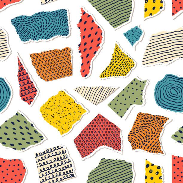 illustrazioni stock, clip art, cartoni animati e icone di tendenza di pattern with pieceis of paper - pezze di stoffa